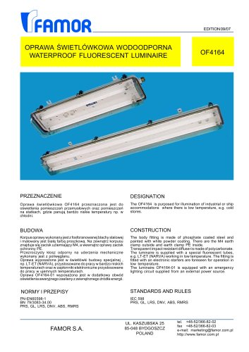 indoor ceiling-mounted luminaire for ships (cold room) OF4164