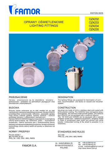 indoor ceiling-mounted luminaire for ships (for hazardous area)