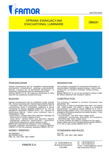 indoor ceiling-mounted luminaire for ships OB4241