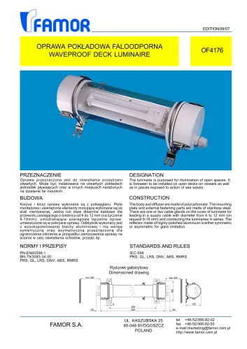 watertight ceiling-mounted luminaire for ships OF4176