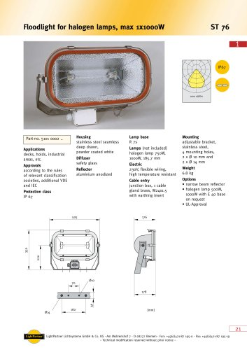 deck floodlight for ships > 499 W