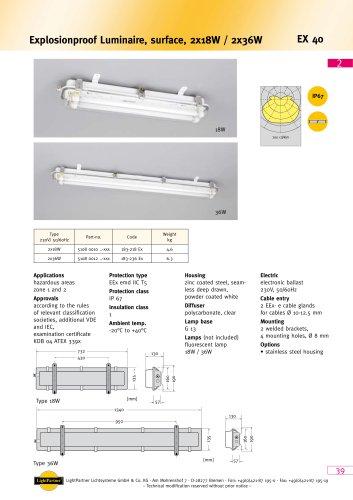 EX40 Explosionproof Luminaire, surface, 2x 18 W / 2x 36 W
