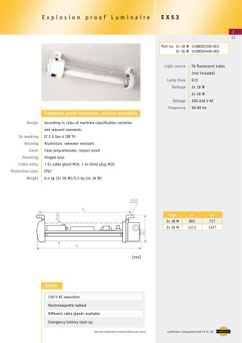 EX53 Explosion proof Luminaire, surface, 2x 18 W/ 2x 36 W