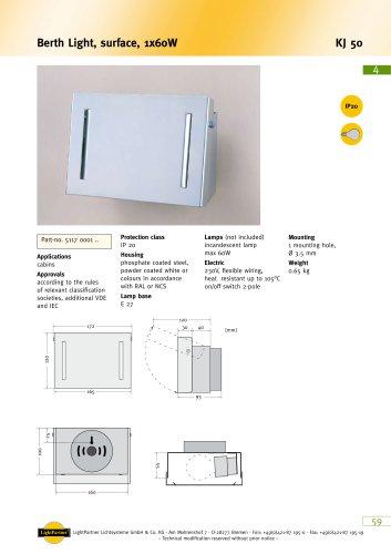 KJ50 Berth Light, surface, 1x 60 W