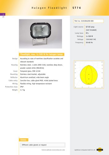 ST76Floodlight for halogen lamps, max 1x 500 W