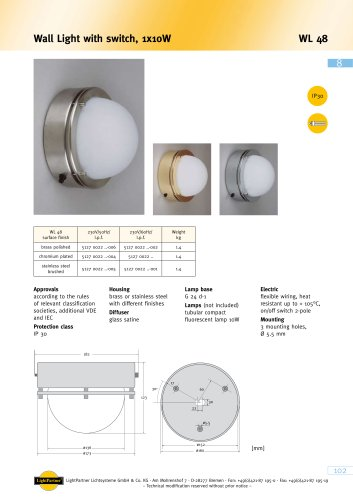 WL 48 Wall Light with switch
