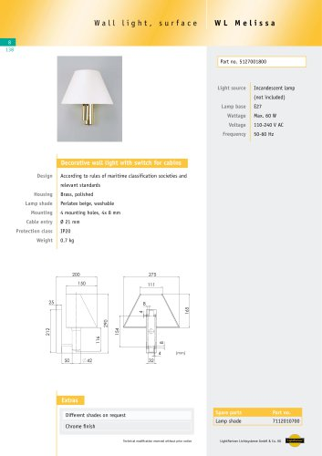 WL Melissa Wall light with switch