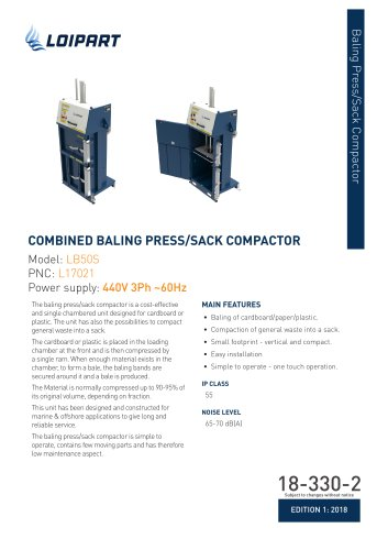 Combined Baling Press/Sack Compactor