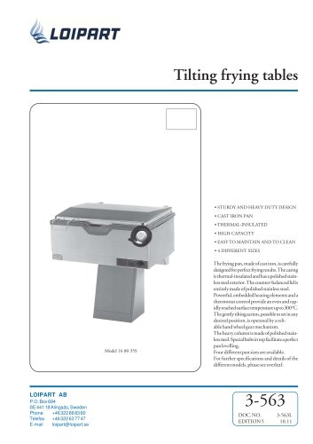 Marine Tiltable Frying Table