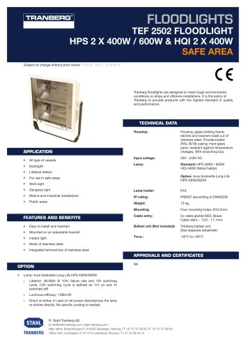 Datasheet TEF 2502 Floodlight HPS max 2x 400W-600W