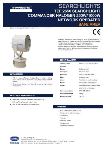 Datasheet TEF 2650 Searchlight - Halogen 1000W rem