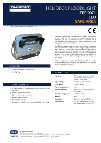 Datasheet TEF 9971 Non-Ex LED Helideck Floodlight