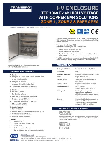 TEF 1060 Ex eb HIGH VOLTAGE WITH COPPER BAR SOLUTIONS