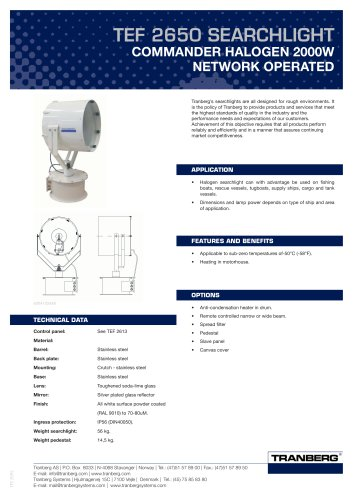 TEF 2650 Bus Operated - Halogen 2000W
