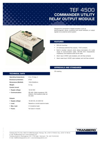 TEF 4500 COMMANDER UTILITY RELAY OUTPUT MODULE