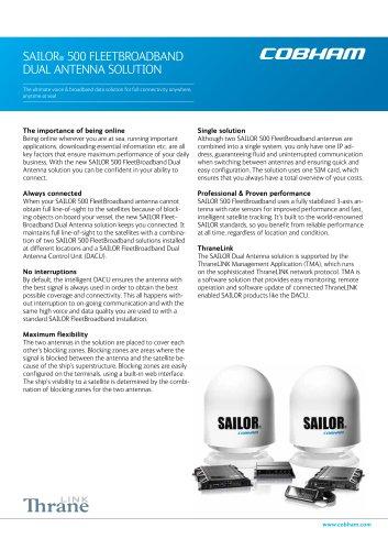 SAILOR® 500 FLEETBROADBAND DUAL ANTENNA SOLUTION