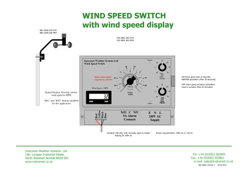 WIND SPEED SWITCH with wind speed display