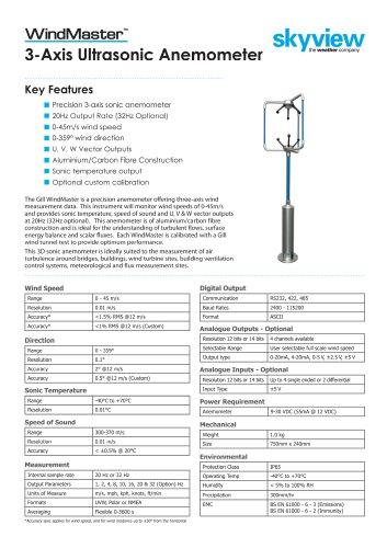 Wind Master 3-Axis Ultrasonic Anemometer