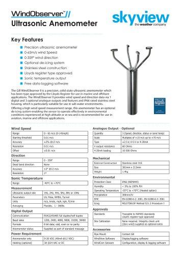 WindObserver™ Ultrasonic Anemometer