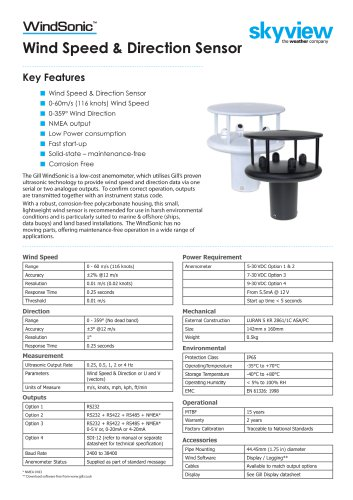 WindSonic™ Wind Speed & Direction Sensor