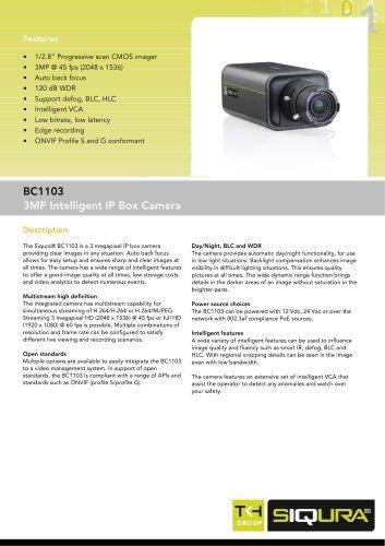 BC1103 - 3MP intelligent IP network box camera