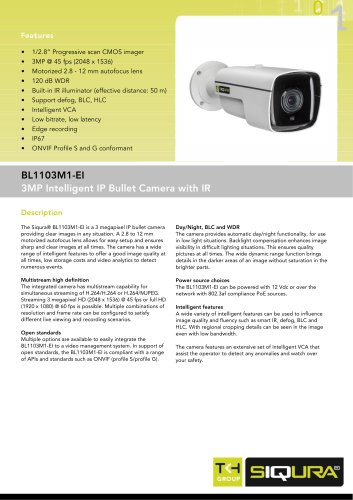 BL1103M1-EI - 3MP intelligent bullet IP network camera with IR for outdoor