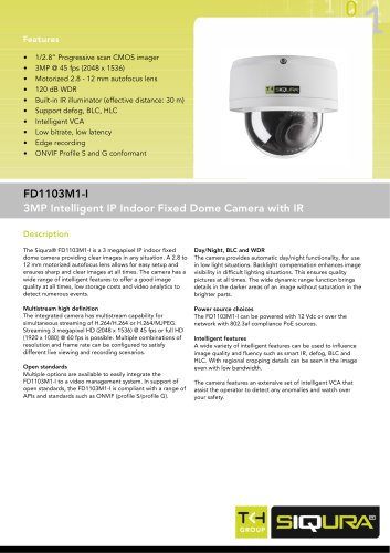 FD1103M1-I - 3MP intelligent fixed dome IP network camera with IR for indoor