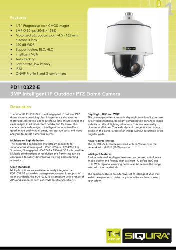 PD1103Z2-E - 3MP PTZ dome IP networked camera with 36x zoom outdoor