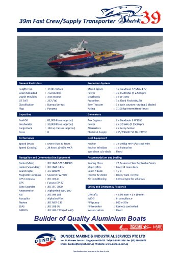 39m Fast Crew Boat FCB Shark39